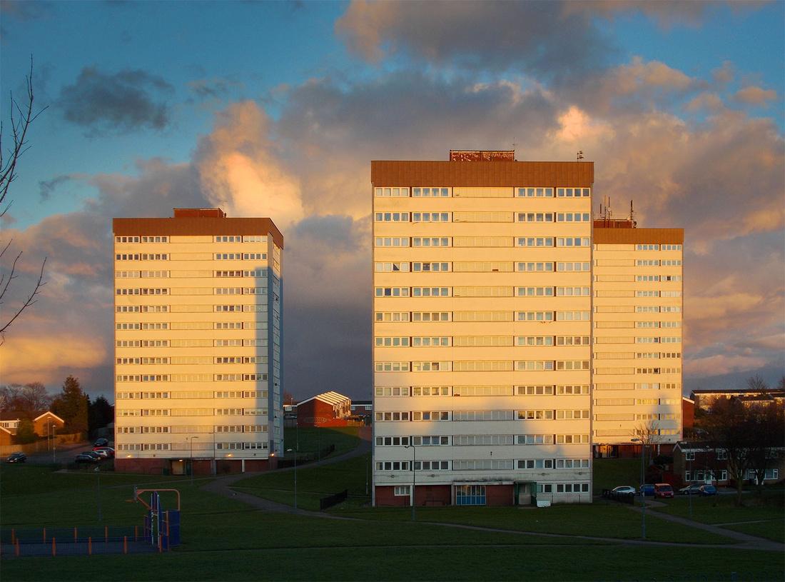 Stechford Birmingham tower blocks caught in the evening sun.  Sunset qualities