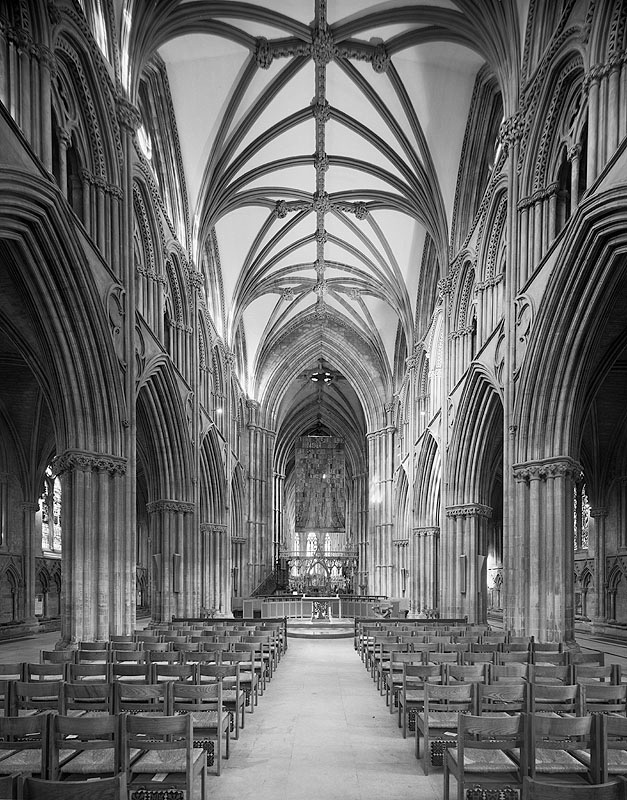 Lichfield Cathedral interior nave perspective correction vertical large format