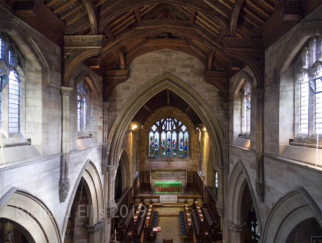 Interior drone flight photos inside church building. Architectural photography Birmingham Moseley.
