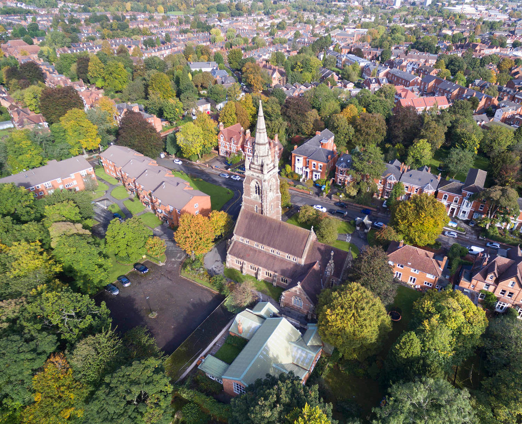 St Anne's Church Moseley, Birmingham. Drone photography aerial UAV