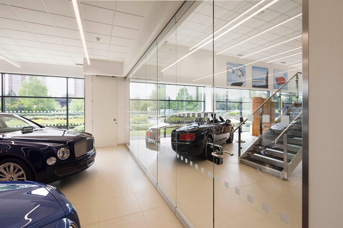 Architectural photography of glass wall by Geze in Bentley showroom, Birmingham