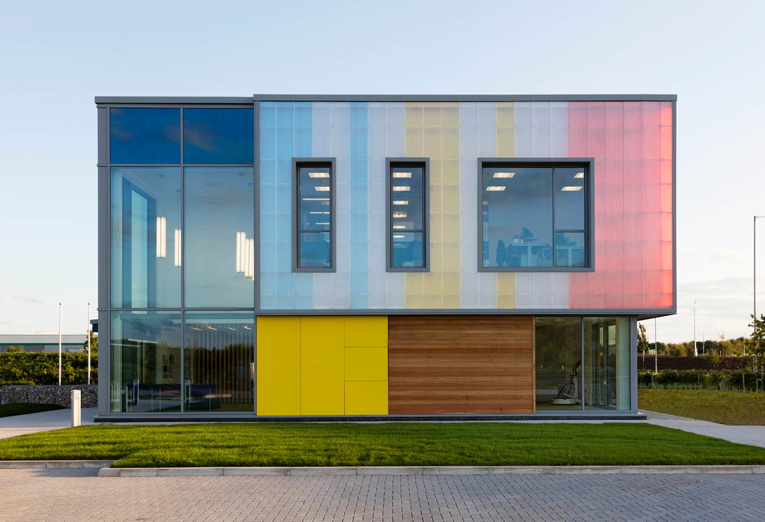 Omicron building, Stafford. Architectural photography showing day and dusk, nocturnal lighting