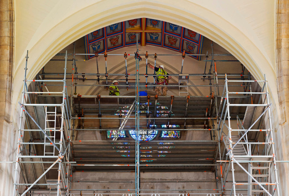 Guildford Cathedral scaffolding.  architectural photography