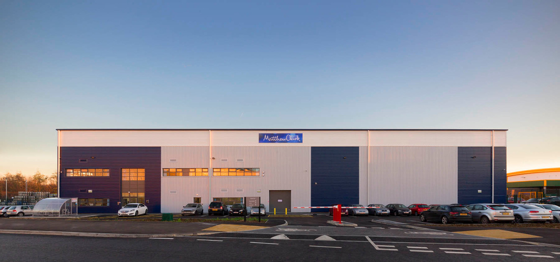 architectural photography of Matthew Clark distribution warehouse, for Pinnegar Hayward Design, Birmingham