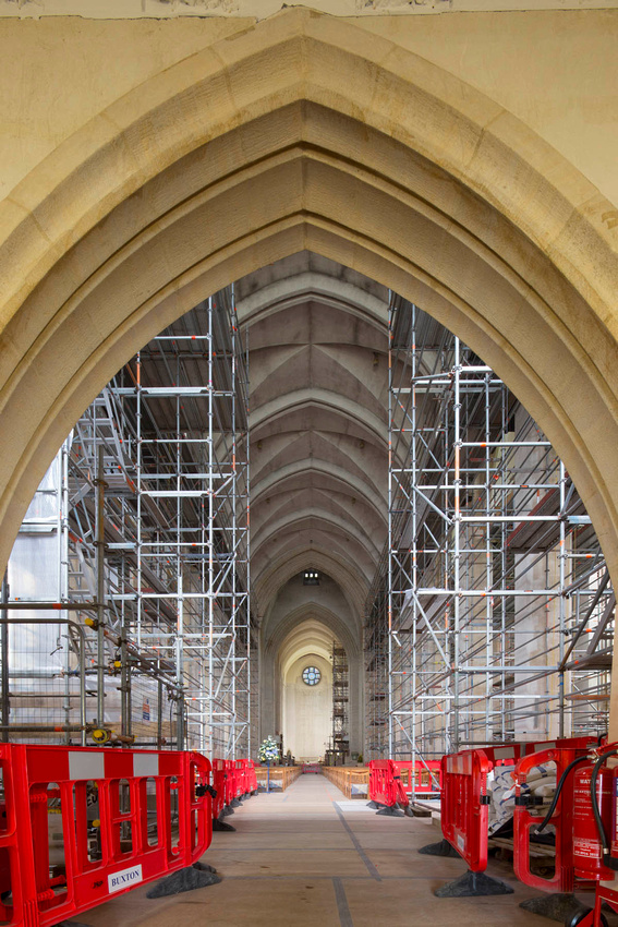 Guildford Cathedral scaffolding.  Architectural photography.
